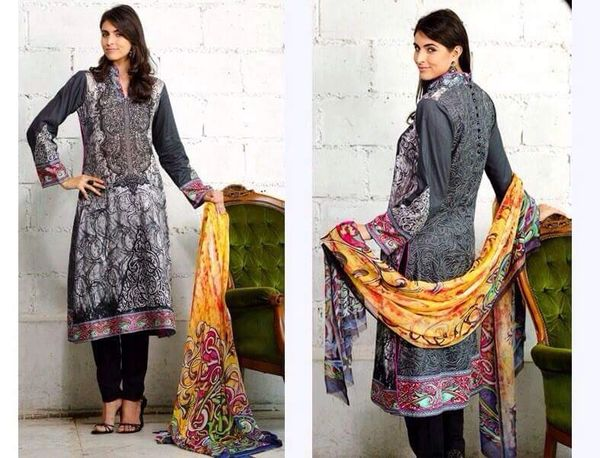 Designer Pakistani Replica Black French Crepe Printed Dress Material SUR2