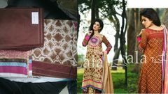 Designer Original Pakistani Sana Samia Brown Lawn Cotton Dress material SSL10A