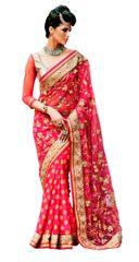 Designer Net Banrasi Georgette Pink Embroidered Saree SC108A