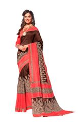 Designer Pink Bhagalpuri Cotton Silk Saree SC3023
