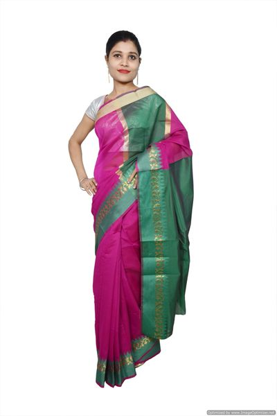 Purple Banarsi Cotton Silk Saree with Running Blouse Fabric BS33