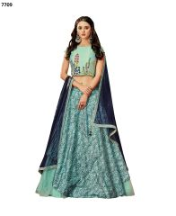 Designer Sea Blue Silk Lehenga Skirt With Semi Stitched Blouse and Dupatta
