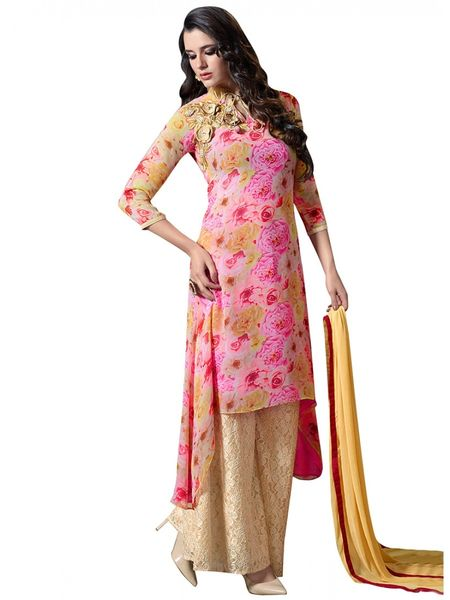 Designer Pink Georgette Embroidered Dress Material With Chiffon Dupatta M1126