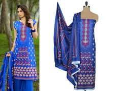 Designer Original Pakistani Sana Samia Blue Lawn Cotton Dress material SSL2A