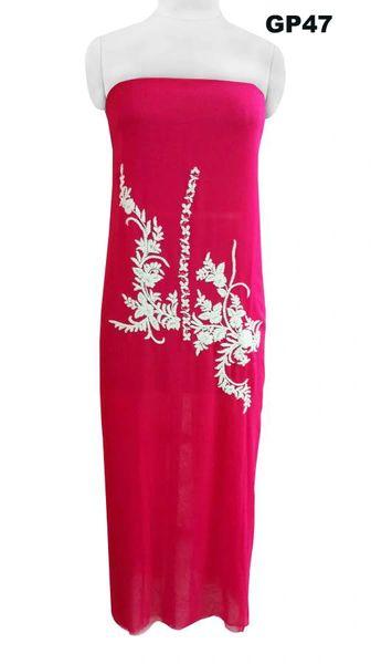 Jaipuri Pearl Hand Work Magenta Georgette Kurti Kurta Fabric GP47