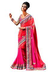 Designer Jute Georgette Pink Embroidered Saree SC110B