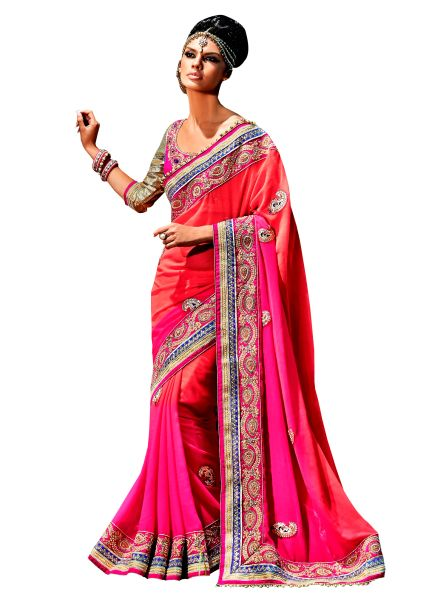 Designer Jute Georgette Pink Embroidered Saree SC110B