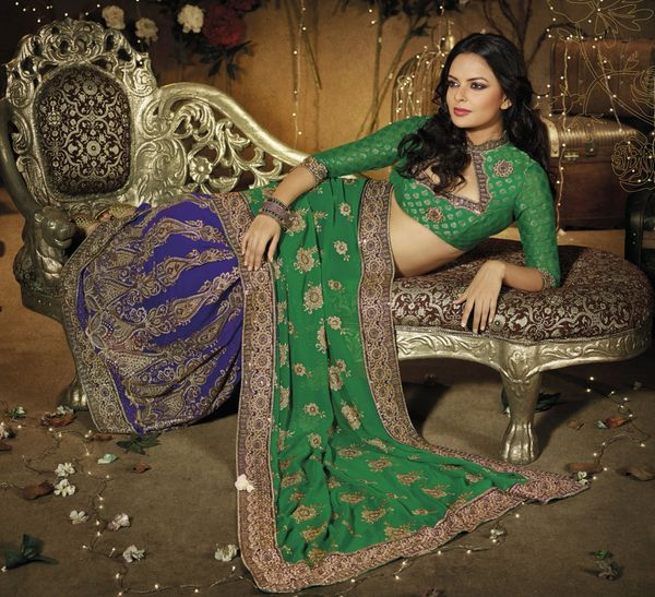 Designer Green and Blue Schiffli Embroidered Georgette saree SC9008B