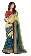 Designer Georgette New Blue Embroidered Saree SC1314
