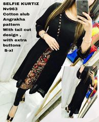 Designer Selfie Black Kalamkari Layer Cotton Kurta Kurti Dress NV963