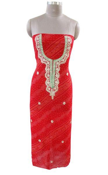 Jaipuri Bandhej Georgette Gotta Patti work Red Kurti Kurta Fabric GP85