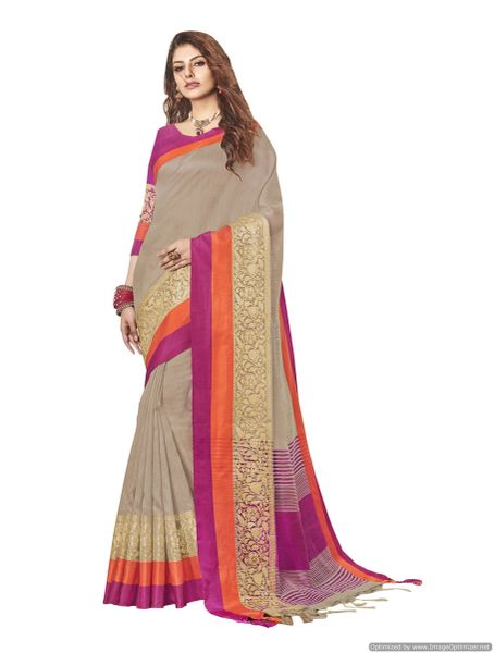 Solid Border Brown Cotton Silk Saree