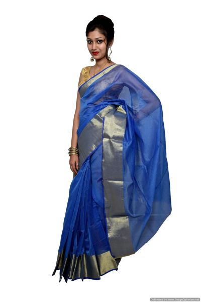 Blue Kota Cotton Zari Border Saree with Running Blouse KCS59