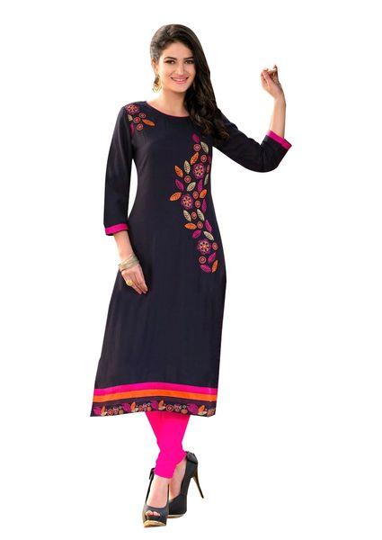 Designer Rayon Cotton Black Embroidered Long Kurta Kurti Size XL SCKS215