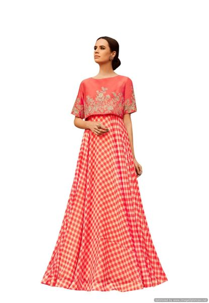 Designer Georgette Embroidered Gown Dress Material (Semi Stitched_Peach Pink)