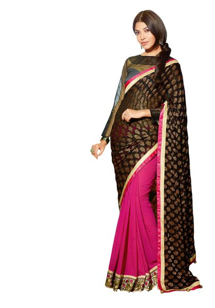 Black and Pink Georgette Saree SC10119