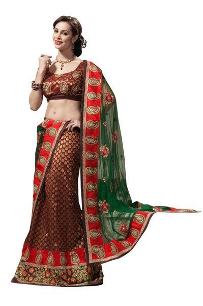 Green Maroon Banarsi Lehenga Choli Dupatta Fabric Only LC181