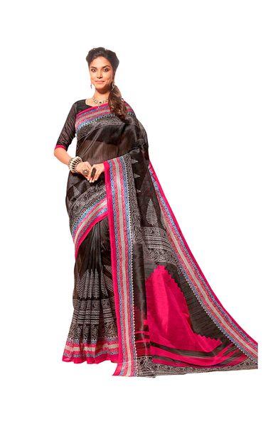 Designer Black Bhagalpuri Cotton Silk Saree SC3039
