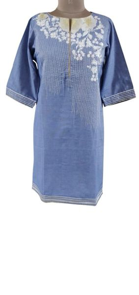 Designer Semi Stitched Blue Pakistani Embroidered Kurti Kurta Tunic PK06