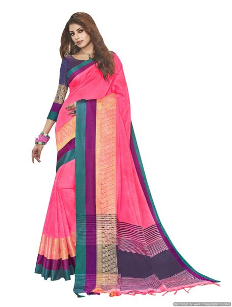 Solid Border Pink Cotton Silk Saree
