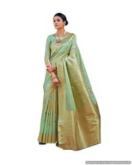 Soft Silk Handloom Weaven Saree (Green_KS08)