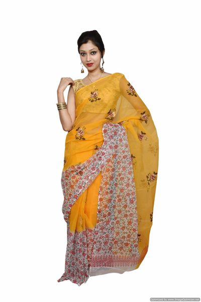 Designer Yellow Kota Cotton Embroidered Saree KCS63