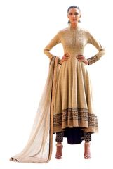 Designer Semi Stitched Beige Fusion Style Khadi Dress Material