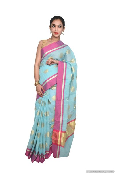 Designer Green Kota Cotton Polka Dot Saree KCS86