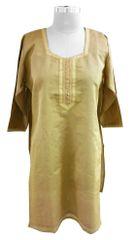 Golden Beige Chanderi Cotton Semi-Stitched Kurta