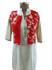 Red Gotta Embroidered Ethnic Jacket Shrug