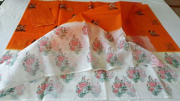 Designer Orange Kota Cotton Embroidered Saree KCS67
