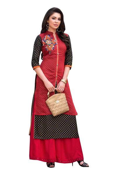 Designer Red Black Rayon Cotton Kora Silk Layered Embroidered Long Kurta Dress Size XL SCKSD201
