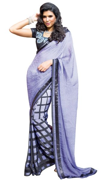 Purple Jacquard Crepe Saree SC31502