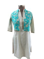 Turquoise Green Gotta Embroidered Ethnic Jacket Shrug