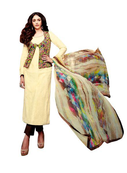 Aditi Rao Cotton Jequard Cream Brown Embroidered Dress Material SC9060