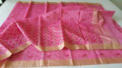 Designer Pink Kota Cotton Embroidered Saree KCS98