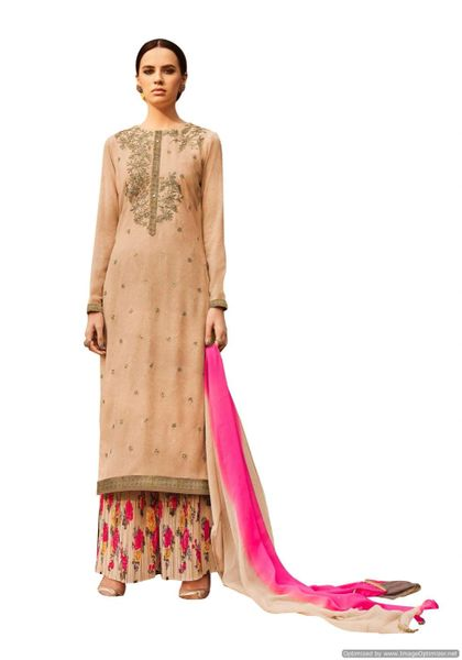 Designer Georgette Embroidered Dress Material (Semi Stitched_Beige Multi)