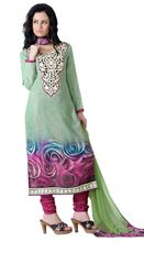Green Pashmina Winter Embroidered Dress Material