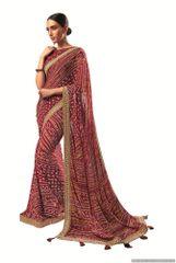 Designer Georgette Maroon Bandhini Bandhej Saree