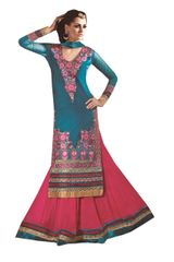Blue Pink Georgette Straight Cut Dress Material