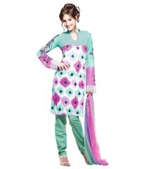 Cotton Turquoise Salwar Kameez Churidar Fabric SC8131B