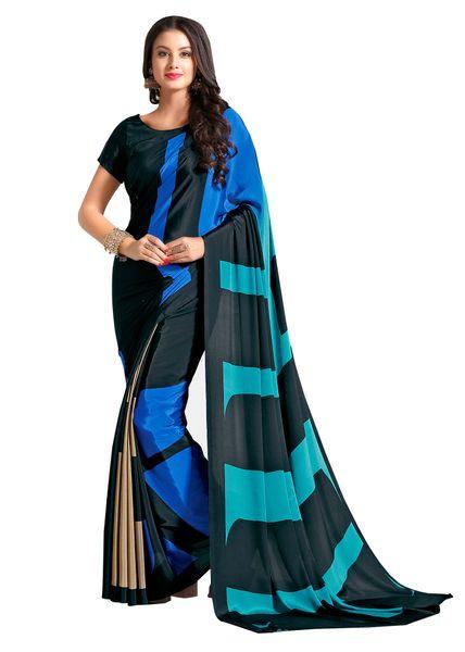 Designer Black Faux Crepe Abstract Print Saree VAS7112