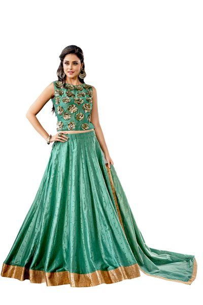 Designer Stitched Turquise Chanderi Lehenga Ghagra Choli Dupatta Skirt Crop Top SIZE L 40 SC1012