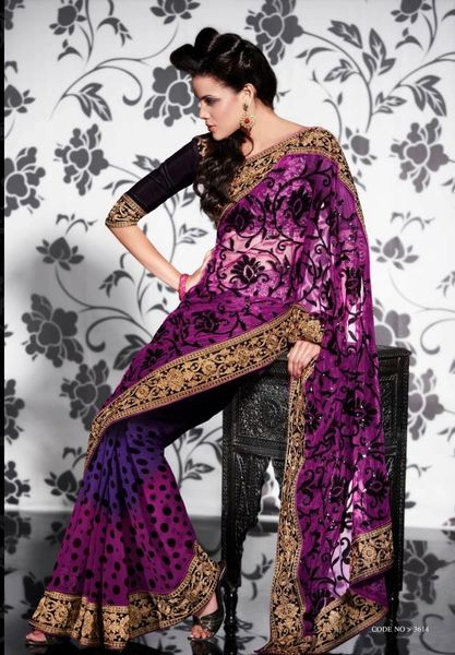 Pink Off white Net Georgette Embroidered Saree SCA3611