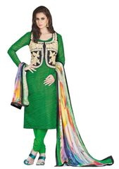 Designer Green Embellished Bhagalpuri Dress Material