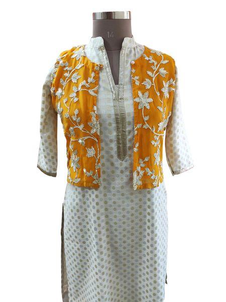 Mustard Yellow Gotta Embroidered Ethnic Jacket Shrug