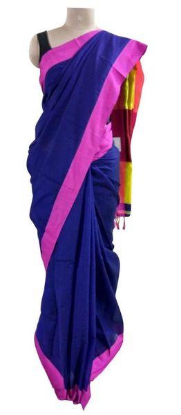 Exclusive Festival Plain Border Blue Khadi Cotton Saree Khadi2