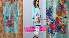 Designer Semi Stitched Light Blue Pakistani Embroidered Kurti Kurta Tunic PK09