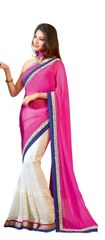 Off White Chiffon Saree with exclusive blouse fabric SC10015
