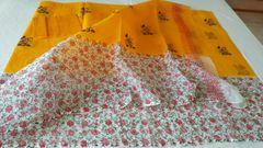 Designer Yellow Kota Cotton Embroidered Saree KCS63